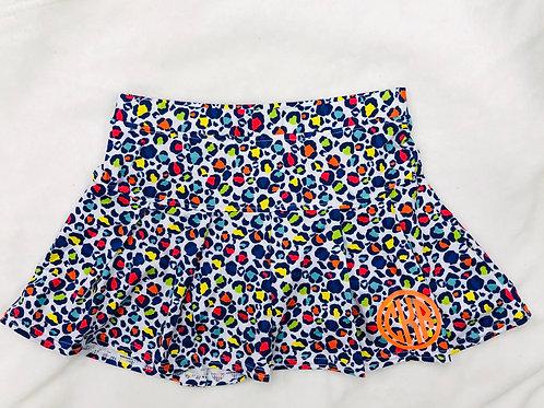 Personalized Rainbow Leopard Tennis Skirt