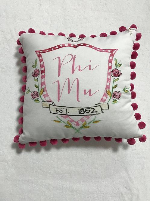 Phi Mu Pom Pom Pillow