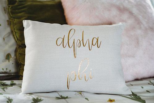 Alpha Phi White Script Pillow