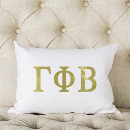 Gamma Phi Beta White and Gold Pillow