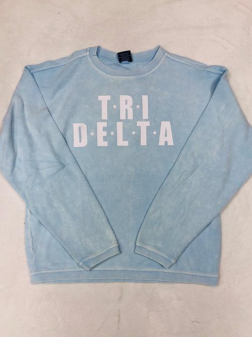 Delta Delta Delta Light Blue Star Design Corded Crew Sweatshirt