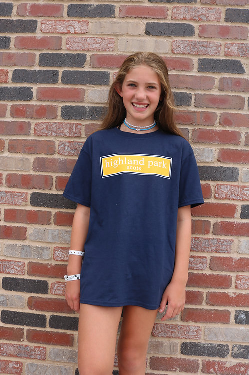Highland Park Navy Block Design T-Shirt