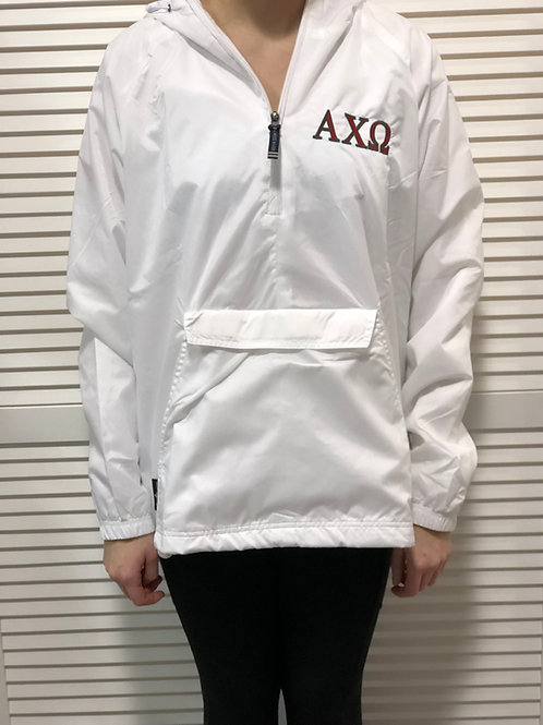 Alpha Chi Omega White Rain Jacket
