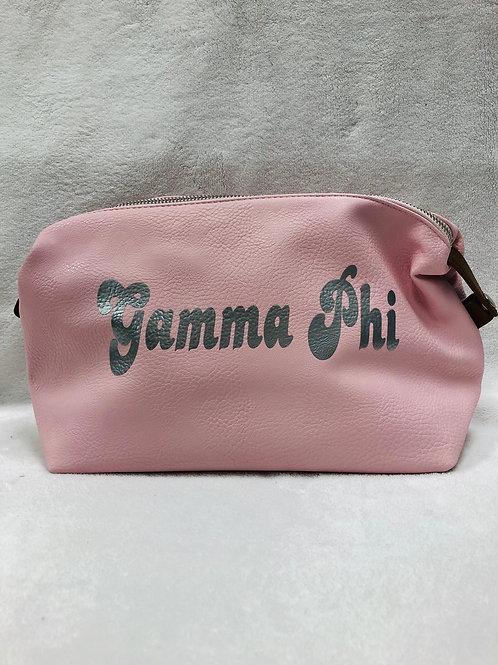 Gamma Phi Beta Large Vegan Leather Makeup Bag - Pink
