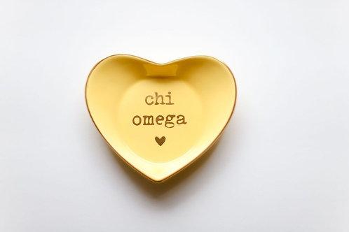 Chi Omega Heart Ring Dish