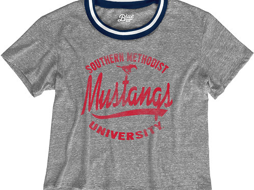 Retro Mustangs Cropped Tee with Blue Trim