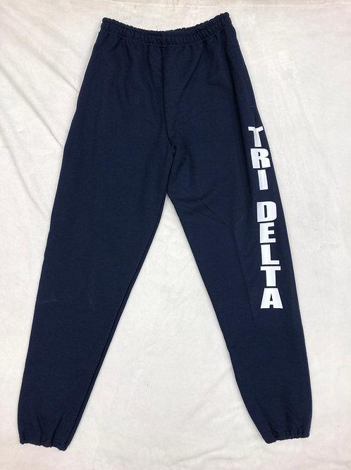 Delta Delta Delta Navy Sweatpants with White Letters