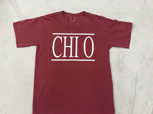 Chi Omega Red with White Comfort Colors Short Sleeve Tee
