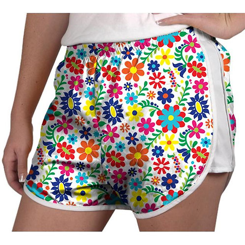 Youth White Floral Running Shorts