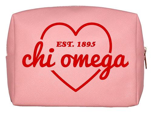 Chi Omega Sweetheart Makeup Bag