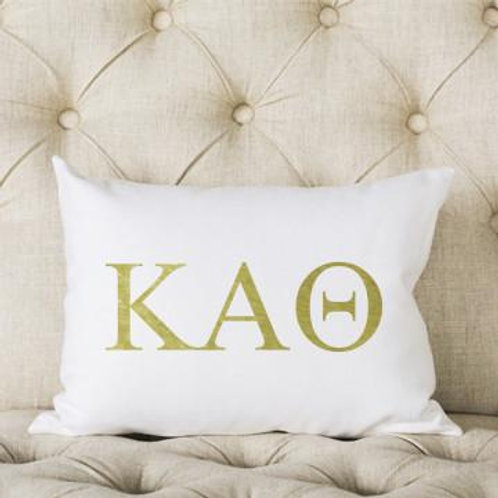 Kappa Alpha Theta White and Gold Pillow