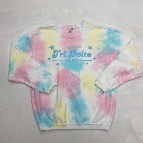 Delta Delta Delta Pastel Tie-Dye Corded Crew - Blue