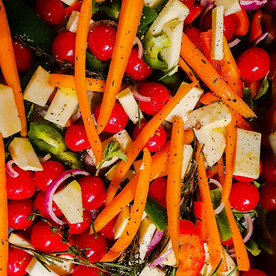 Gegrilde groenten met verse zalm