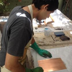 Preparando plancha para Grabado