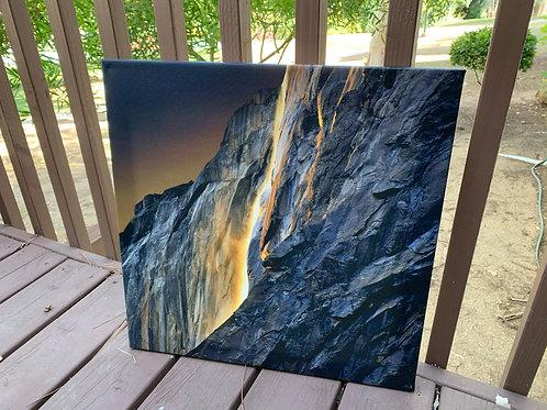 Horsetail Firefall IV   20x20 Canvas Print
