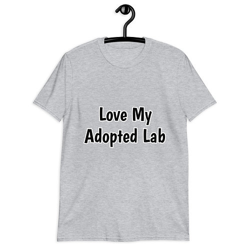 """Unisex Softstyle T-Shirt - """"Love My Adopted Lab"""" front & LR logo label on back"""