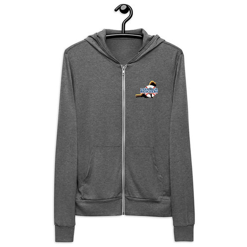 Unisex Lightweight Zip hoodie with LR logo on front & large logo on back