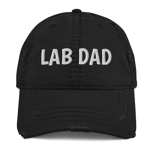 """Distressed Baseball Hat with """"LAB DAD"""" embroidered"""