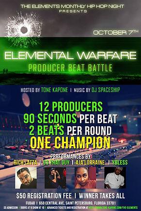 Elemental Warfare, Beat Battle, Tampa, St. Pete, Tampa Bay Hip Hop, Producers, Performances, DJ Spaceship, Operation Build The Bay, Rich Latta, G3 That Guy, Aja Lorrane, Ybless