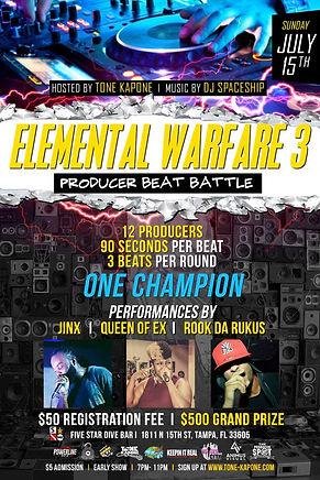 Elemental Warfare, Beat Battle, Tampa, St. Pete, Tampa Bay Hip Hop, Producers, Performances, DJ Spaceship, Operation Build The Bay, Jinx, Queen Of Ex, Rook Da Rukus