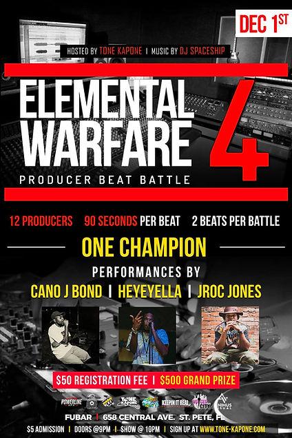 Elemental Warfare, Beat Battle, Tampa, St. Pete, Tampa Bay Hip Hop, Producers, Performances, DJ Spaceship, Jroc Jones, Heyeyella, Cano J Bond, Operation Build The Bay