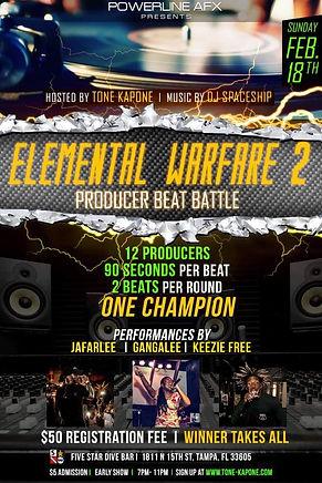 Elemental Warfare, Beat Battle, Tampa, St. Pete, Tampa Bay Hip Hop, Producers, Performances, DJ Spaceship, Operation Build The Bay, Jafarlee, Gangalee, Keezie Free