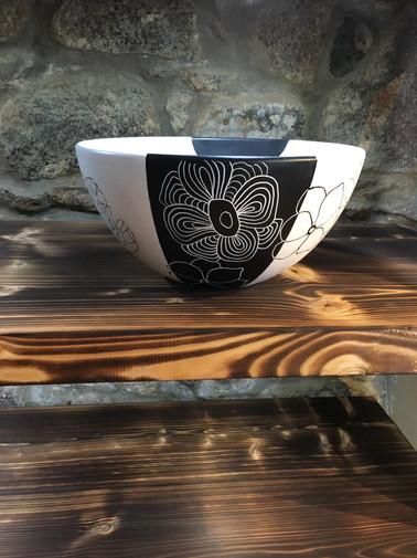 Decorative Black & White Ceramic Bowl