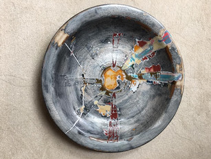 Sanded paint, ceramic bowl