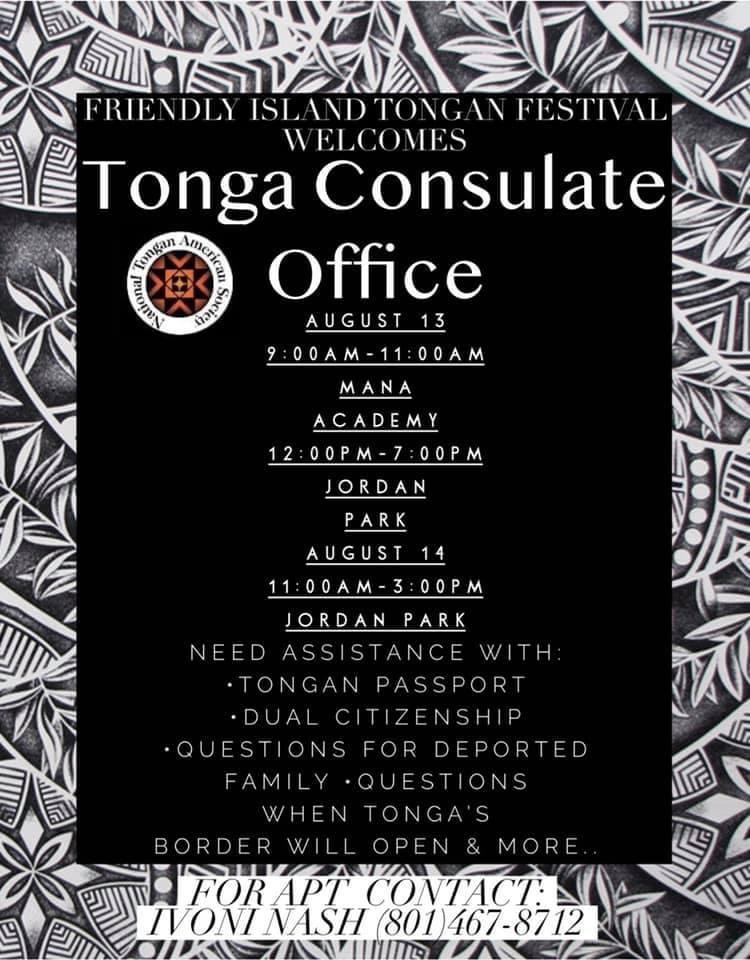 Flyer announcing visit of Consulate General of Tonga to Utah