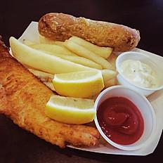 Fish N' Chips w/ Sausage