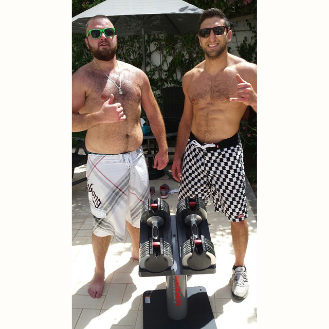 _saleh_at said he wanted a workout at home, so I put him through this next to the pool___Thrusters (
