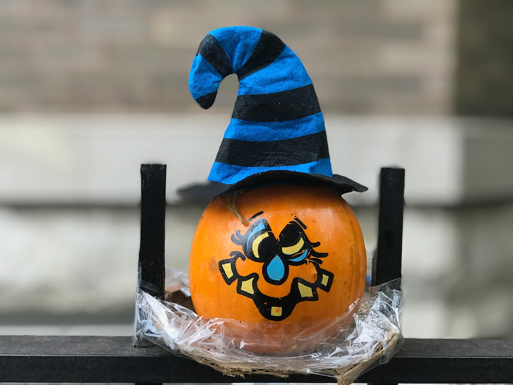 Tiny painted silly witch pumpkin