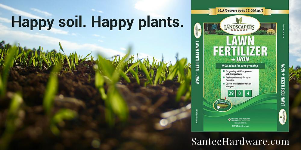 Santee Hardware carries fertilizer. Happy soil makes happy plants.