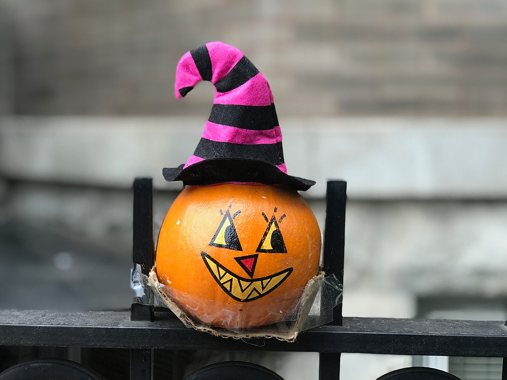 Tiny Painted Witch Pumpkin