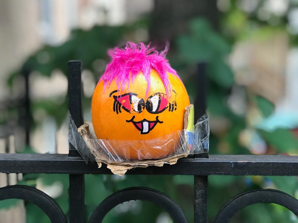 Tiny painted bridge troll pumpkin