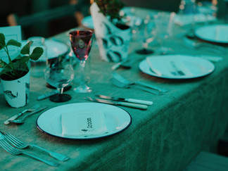 Hessian covered table in marquee