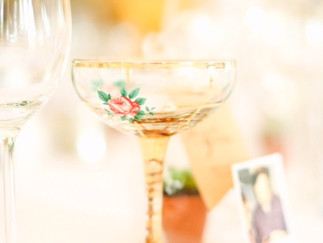 Floral champagne glass