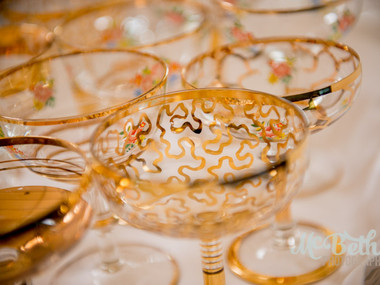 Gold champagne glasses