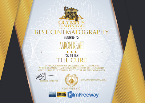 Best Cinematography- Aaron Kraft- The Cu