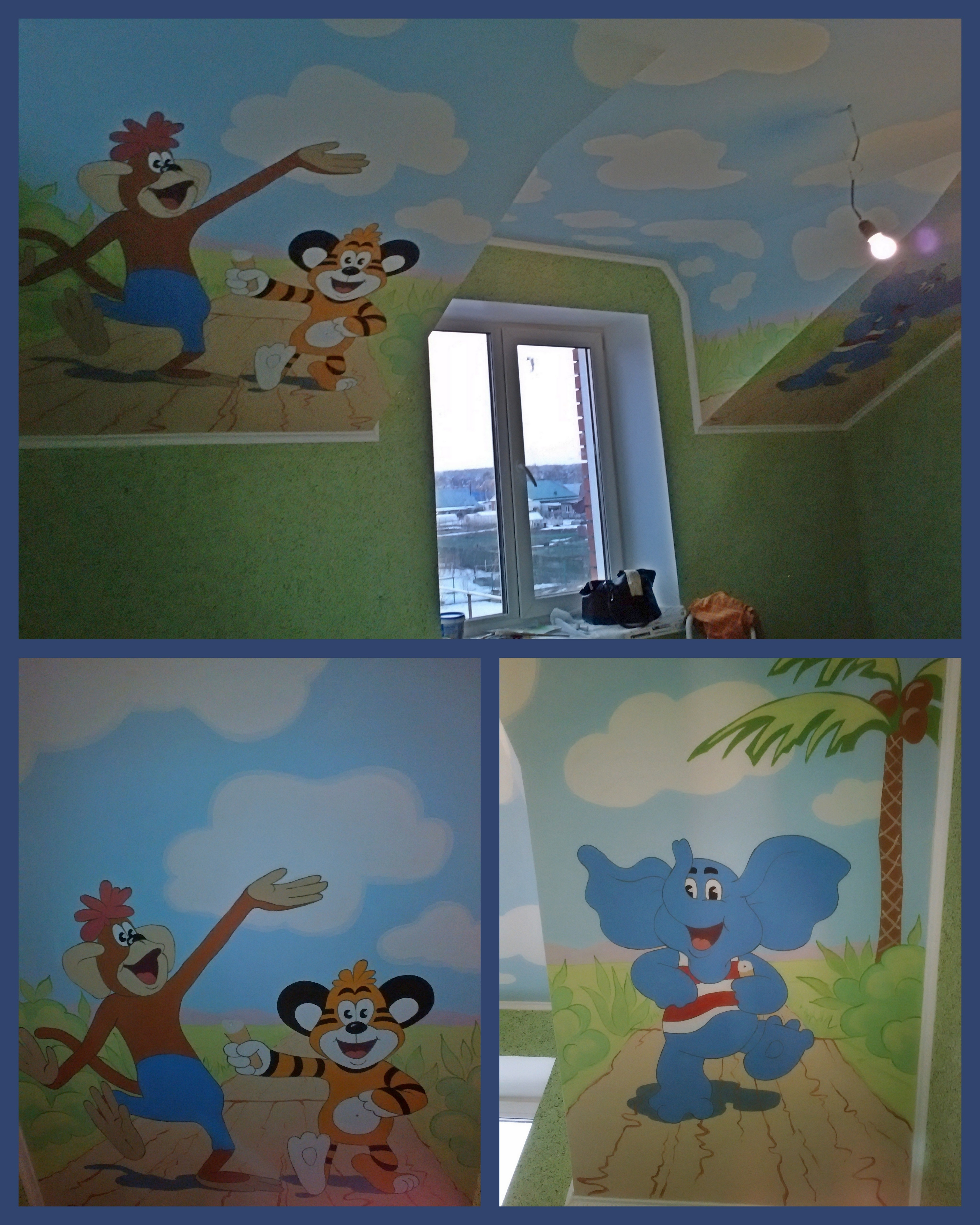 Роспись стен и потолка в детской
