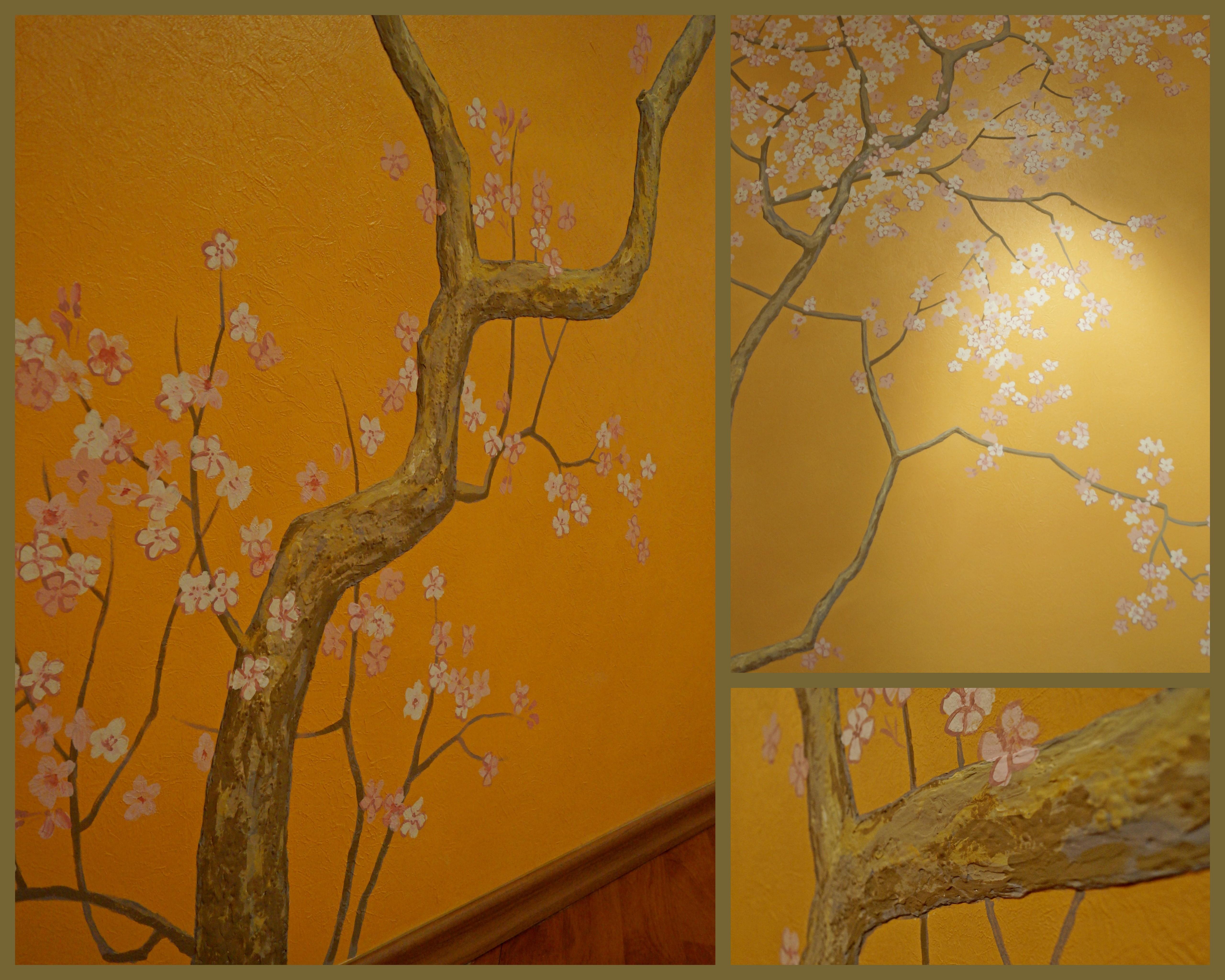 Сакура. Роспись в гостиной