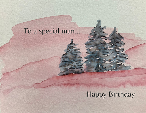 To a Special Man Birthday, Watercolor Trees