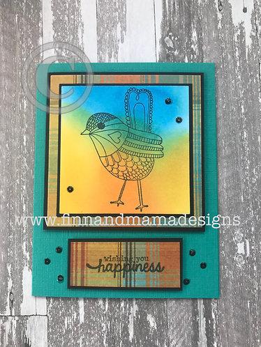 Wishing You Happiness, Colorful Plaid Bird