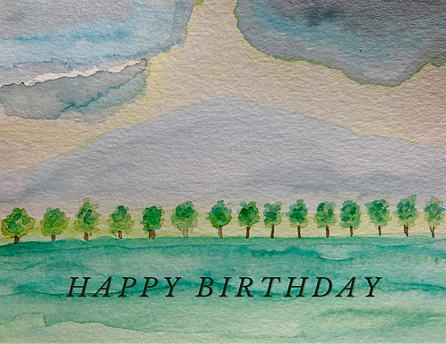 Country Field Watercolor Birthday