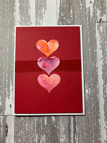 Love You Lots, Watercolor Hearts, Valentine's Day Card