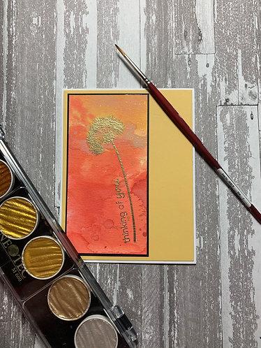 Watercolor Gold Embossed Dandelion (Set of 6 Cards)