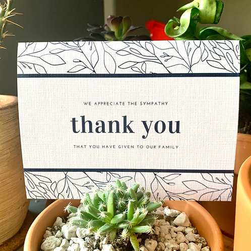 Thank You/Sympathy/Family Cards (Set of 10)
