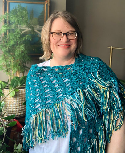 April Showers Shawl, Teal Color with Multicolor Funky Fringe