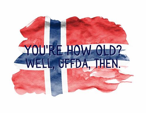 Norwegian Uffda Birthday Card