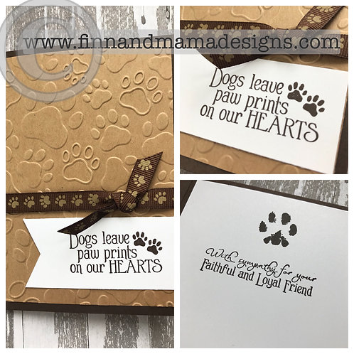 Dog Sympathy Card, Paw Prints on our Hearts